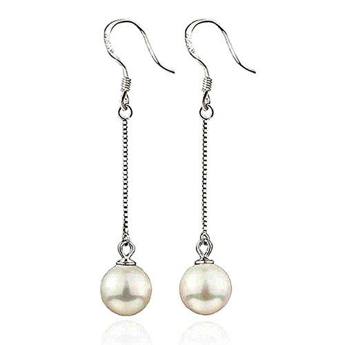 Injoy Jewelry Elegant Dangling Faux Pearl Long Drop Earrings Hypoallergenic for Womens Girls Dangling Faux Earrings