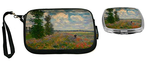 Poppy Field Argenteuil (Rikki Knight Claude Monet Art Poppy Field Argenteuil Design Neoprene Clutch Wristlet with Matching Square Compact Mirror)