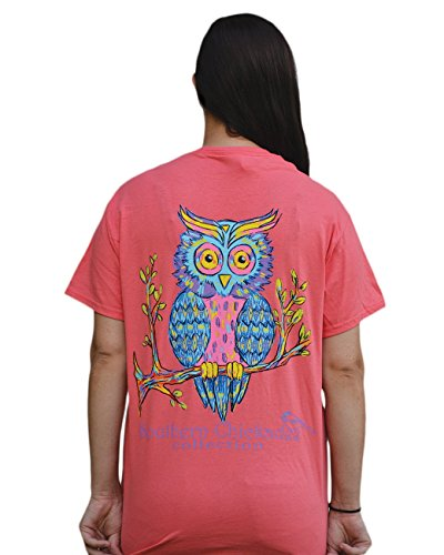 Southern Chickadee Owl Printed Short Sleeve Tee Coral (Large)