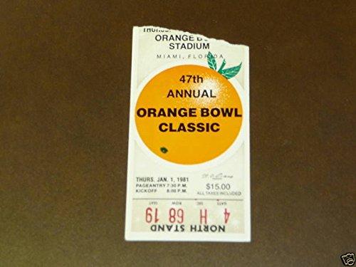 1981 ORANGE BOWL TICKET STUB OKLAHOMA OVER FLORIDA ST