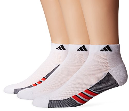 adidas Mens Climacool Superlite Low Cut Socks (3-Pack), White/Energy Red/Black, Size 6-12
