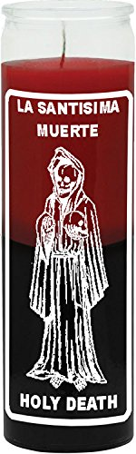 INDIO Glass Decorative Spritiual Botanical Voodo Wicca Candle- 7 DAY HOLY DEATH RED/BLACK