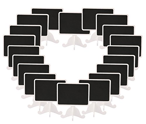 Dedoot Mini Rectangle Chalkboards Signs Stand, Pack of 20 Wood Small Chalkboard Place Cards with Easel Stand, Perfect for Daily Home Decoration, Weddings, Party, Table Numbers, Food Signs - White by Dedoot (Image #7)