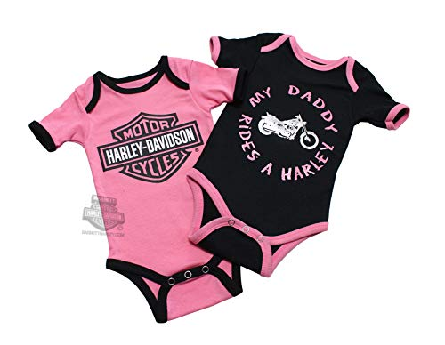 Harley-Davidson Girls Baby Twin Pack Creeper My Daddy Rides a Harley (18 Months)