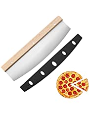 Pizzasnijder, professionele pizzasnijder, roestvrij staal, met houten handvat, scherpe pizzasnijder, duurzaam, 35 x 10 cm