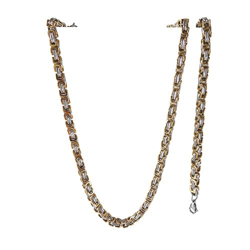 J shine Middle Size Mechanic Chain 2-Tone Silver & Gold Stainless Steel Necklace & Bracelet Set Gn722