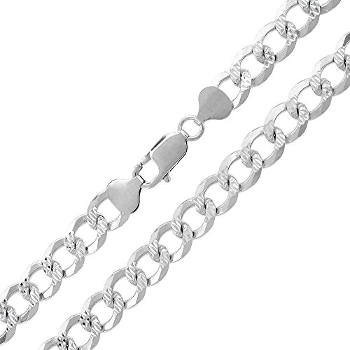 Sterling Silver Italian 8.5mm Cuban Curb Link Diamond-Cut ITProlux Solid 925 Necklace Chain 20