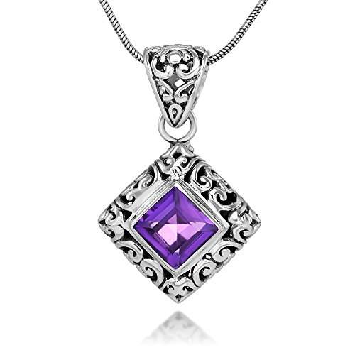 "Sterling Silver Filigree Amethyst Gemstone Square Pendant Necklace w/ 18"" Silver Chain"