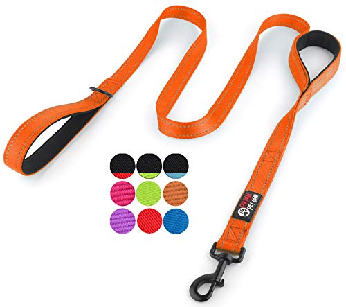 Primal Pet Gear Dog Leash 6ft Long - Traffic Padded Two Handle - Heavy Duty - Double Handles Lead for Control Safety Training - Leashes for Large Dogs or Medium Dogs (6FT, Orange)