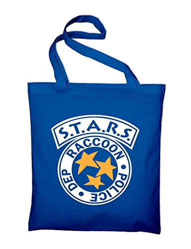 Tasche blue Bag Stars In Blue Raccoon Fabric Royal Cotton Police Logo Bag Jute And Styletex23bagraccoon2 Department Y6wPSY