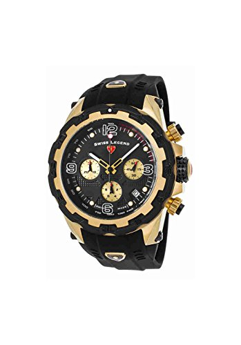 Swiss Legend 15250Sm-Yg-01-Bb Daredevil Chronograph Black Silicone And Dial Gold-Tone Ss Watch