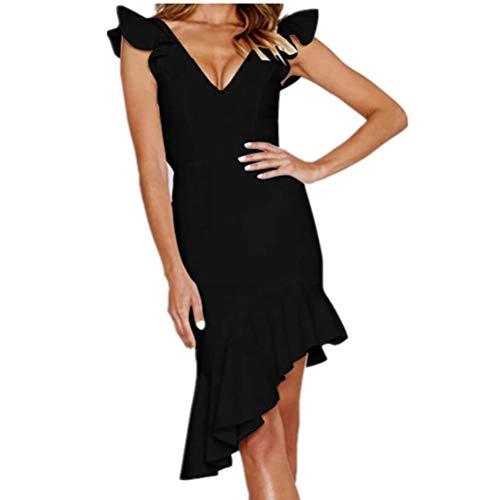 laiyuan Womens Sexy Midi Party Dress V Neck Backless Slim Bodycon Casual Dress Black M