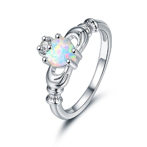 OPALBEST 14K White Gold Plated Heart Shaped Opal Women Eternity Wedding Band Promise Ring with Cubic Zirconia(cz)