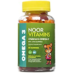 NoorVitamins Children's Omega 3 Gummy Vitamin - Packed Full of EPA+DHA to Help Young Brains Develop - 90 Count Gummies - Halal Certified Vitamins For Kids