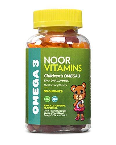NoorVitamins Enfants Gummy Omega 3 et de Vitamines Pleine de EPA+DHA pour Aider les Jeunes Cerveaux de Développer - 90 Comte Gummies - Certifié Halal Vitamines Pour les Enfants (1)