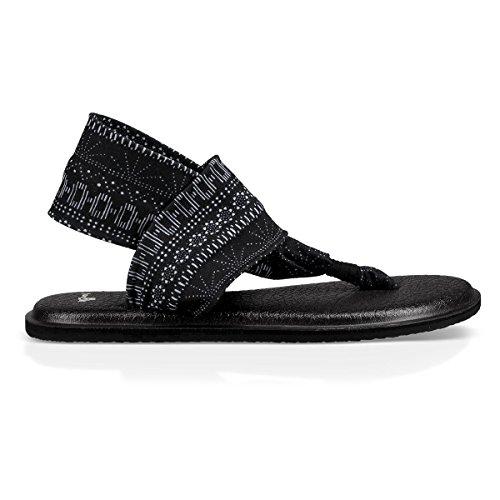 Sanuk Women's Yoga Sling 2 Print Vintage Flip-Flop, Black/White Shibori Stripes, 07 M US ()