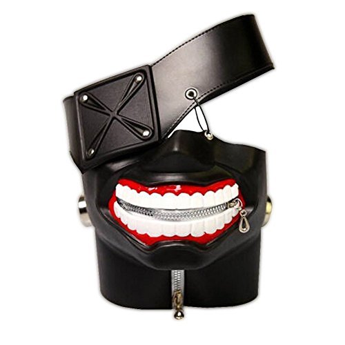 Bamboo's Grocery Tokyo Ghoul Kaneki Ken Cosplay Mask, Party Cool Mask Prop Zipper, Black -