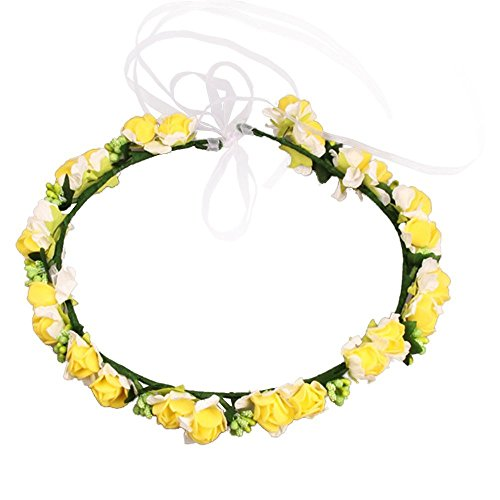 JustVH Exquisite Flower Crown Flower Headband Bridal Wreath with Adjustable Ribbon Yellow