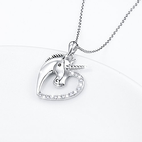 Sterling Silver Forever Love Unicorn in Heart Pendant Necklace for Women Girl, Rolo Chain 18'' by Silver Light Jewelry (Image #3)