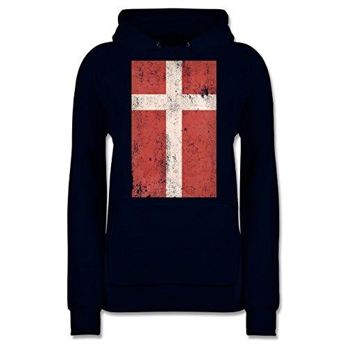 Shirtracer Länder - Dänemark Flagge Vintage - Damen Hoodie Dunkelblau