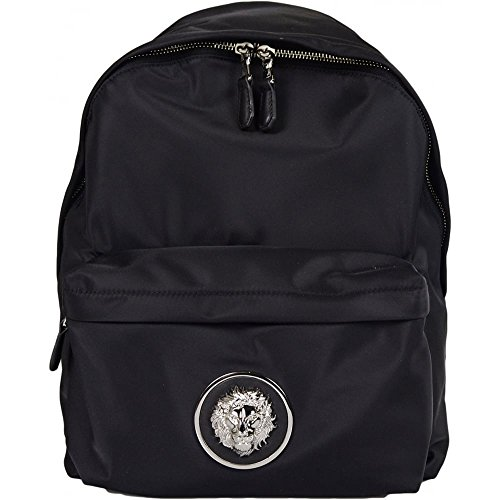 Versace FBU0093 Polyester Metal Lion Head Logo Black Backpack One - Versace Lion Logo