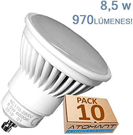 Pack 10x GU10 LED 8,5w Potentisima. Color Blanco cálido (3000K). 970 lumenes reales. Unica con Angulo de 120 grados.