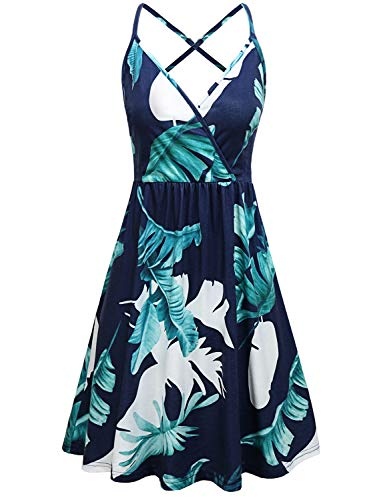 Sexy V Neck Wrap Dress,Figure Flattering Popular Sleeveless Feminine Strappy Sundress Graceful Leaves Print Knee Length Rouched Tank Dress Unique Valentine Plus Size Home Leisure Dating Wear Blue XXL