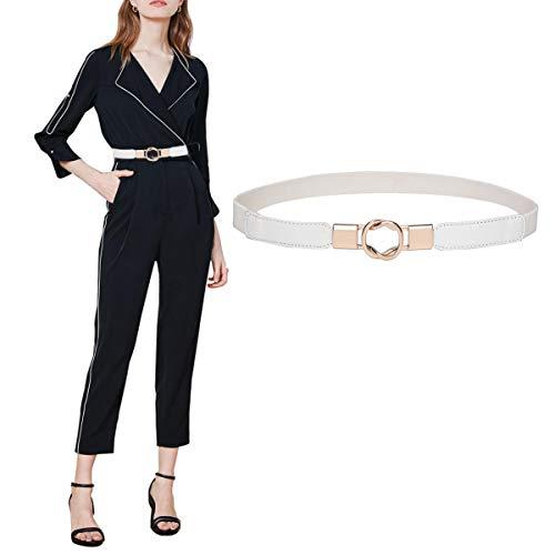 Skinny Belt for Dresses Retro Stretch Ladies Waist Belt Set PS1_XWE (Elastic Leather Cinch Belt)