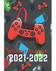 Student Planner 2021-2022: Academic Notebook Calendar August–June Organizer Monthly At-A-Glance, Weekly Pages with Grade Assignments, Exams Tracker, Class Scheduling, Password Log, Contact List for Teen Boys Gamer Orange Controller Headset 6x9 inches