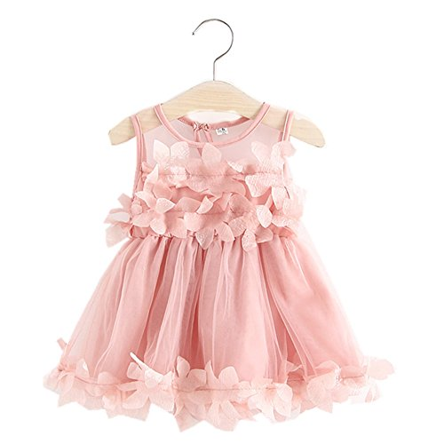 Baby Girls Toddler Flower Petal Dress Princess Lace Ruffled Tulle Wedding Pageant Party Dresses Sundress (Pink, 1-2 Years)