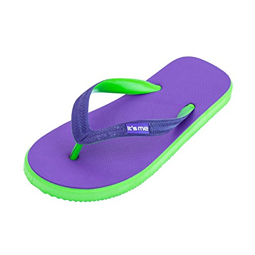 it's me Women Natural Rubber flip Flops Wide Style | Slip Resistant | Toxin-Free | Supersoft | 0% PVC Purple/Green (Best Vg E Liquid)