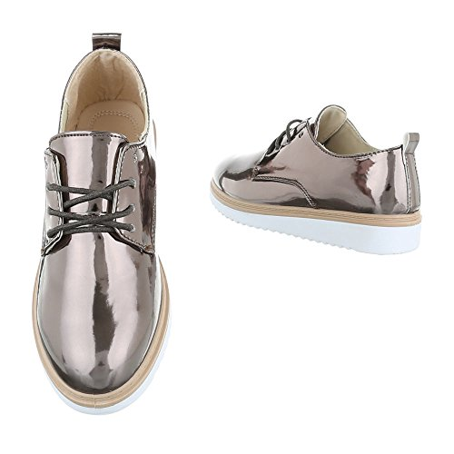 marrón Planos Design Zapatos con Mujer Ital Cordones AROpqwx