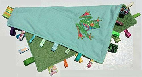 PLUSH FROG ~ Reversible Blanket with Ribbon Tabs (Silky Plush Frog)