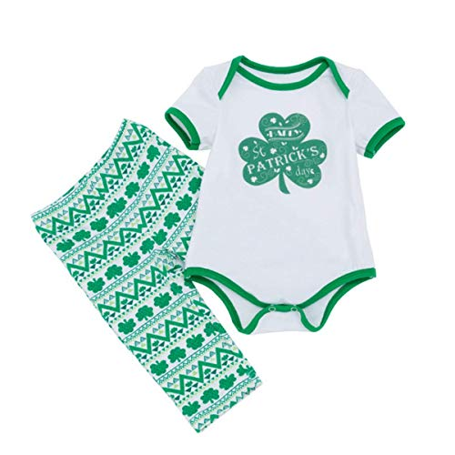 Amberetech ST. Patrick's Day Romper Outfits Baby Boys Girls Pants Clothing Sets Cotton Infant Irish Party Costume Shamrocks Short Sleeve Jumpsuit Pants Suits (XL(12-24months), Shamrock) -