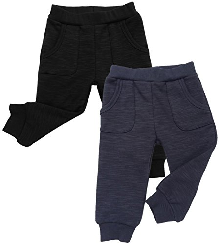 Toddler Pants Girls Velour (JAN & JUL Warm Unisex Girl Boy Winter Jogger Pants (4T, Pack of 2: Heather Black/Heather Grey))