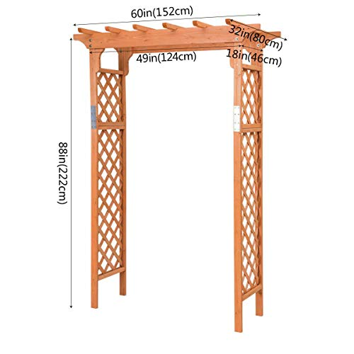 ANA Store Natural Decoration Vine Escalate Stand 49''x32''x88'' Wooden Garden Arch Trellis Pergola Arbor Over 7FT High Patio Plant Outdoor Archway