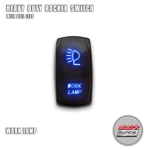 (WORK LAMP - Blue - STARK 5-PIN Laser Etched LED Rocker Switch Dual Light - 20A 12V)