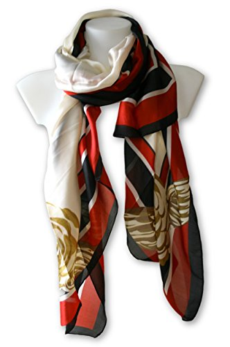 Moriel's Oasis Silk Scarf in Red, White and ()