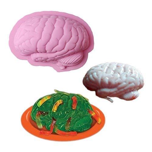 (Isali Making Molds Human Brain Shape Pan Baking Silicone Halloween Cake Mold Pudding Jello Dessert)