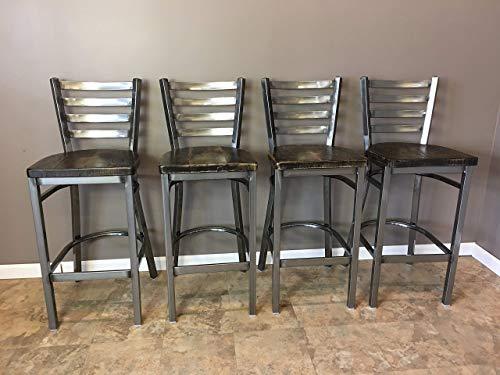 Reclaimed Wood Bar Stool Seat | Set of 4 | Gun Metal Gray Ladder Back Metal Frame | High Quality Restaurant Grade | Free Shipping