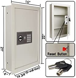 Secure Digital Cash Jewelry 0.8 Flat Recessed Wall Electronic Safe Large Gun
