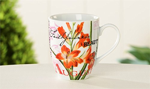 August Gladiolus and Peridot Birth Month Porcelain Birthday Mug Beautifully Boxed Featuring Birth Flower and Birthstone