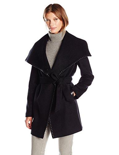 Wool Wrap Jacket (Elie Tahari Women's Natasha Wool Wrap Coat, Black, S)