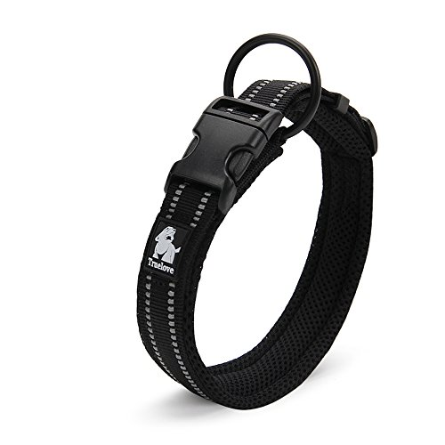 Treat-Me-Mesh-Padded-Nylon-Pet-Dog-Collar-Adjustable-Comfortable-3M-Reflective-For-Outdoor-Adventure-Dog-XXL-Black