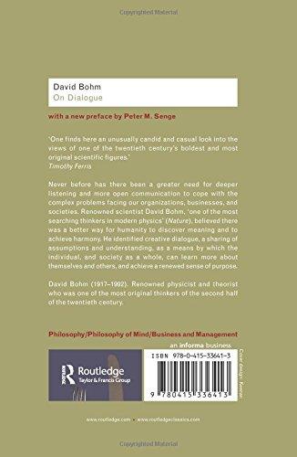 On Dialogue Routledge Classics Amazon Co Uk David Bohm