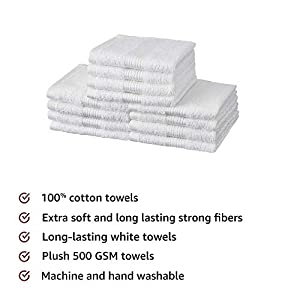 Amazon Brand – Solimo 100% Cotton 12 Piece Face Towel Set, 500 GSM (White)