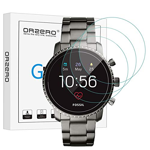 [3 Pack] Orzero for Fossil Mens Gen 4 Q Explorist HR Smartwatch Tempered Glass Screen Protector [Upgraded], 2.5D Arc Edges 9 Hardness HD Anti-Scratch Bubble-Free [Lifetime Replacement Warranty]