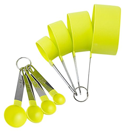Cook's Corner 488LG 8PC Measuring Cups and Spoons Set, Lime - Cook Green