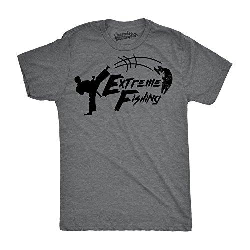 Crazy Dog TShirts - Mens Extreme Fishing Funny Karate Fish Kick Sporting Cool T shirt (Grey) 5XL - herren - 5XL