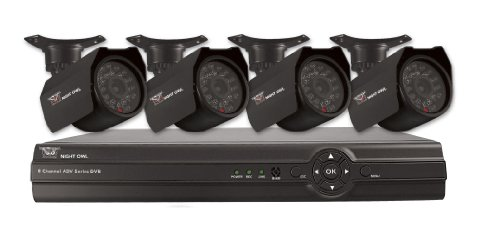Night Owl Security ADV1-84500 8-Channel Security System with 500GB HD with 4 Indoor/Outdoor Cameras and  Pro App (Black)